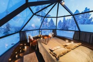 northern lights from glass igloo